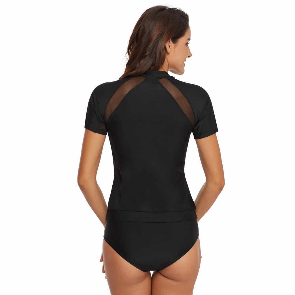 CHAMSGEND الصيف المرأة مثير بلون جوفاء خياطة تصفح الملابس التجفيف السريع قصيرة الأكمام زي سباحة من قطعتين