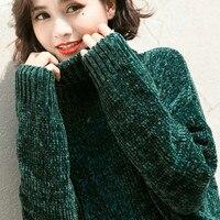 NIJIUDING Thick Warm Turtleneck Oversized Chenille Sweaters Long Sleeve Winter Autumn Basic Loose Pullovers Ladies