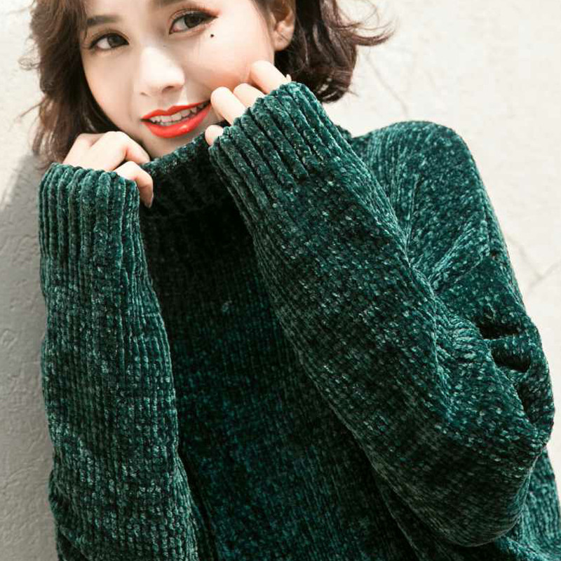 Nijiuding Thick Warm Turtleneck Oversized Chenille Sweaters Long Sleeve Winter Autumn Basic Loose Pullovers Ladies Causal Tops