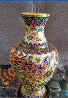 Collecting Chinese cloisonne carved dragons and phoenixes vase decoration #8848