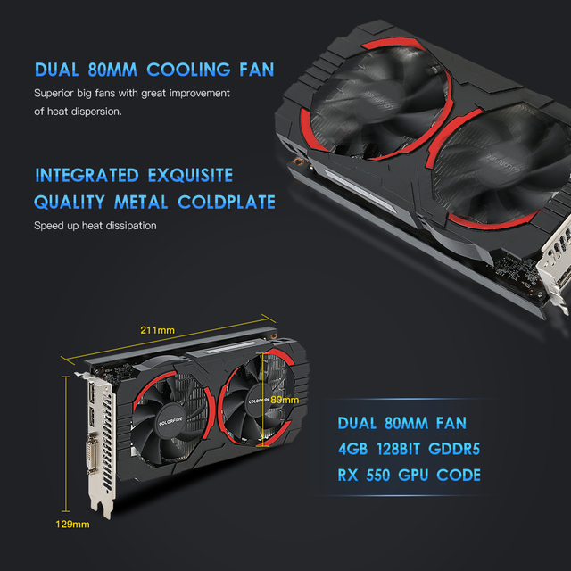 (Free Shipping) Colorfire RX 550 Ustorm-4GD5 4GB/128bit GDDR5 Gaming Cards Graphics Card DP+HDMI+DVI Port with 2 Cooling Fans 3