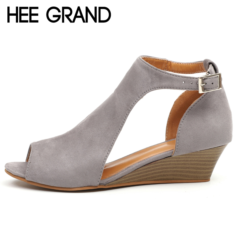 HEE GRAND Peep Toe Gladiator Sandals Summer Elegant Platform Shoes Woman Wedges Sandals Casual Women Shoes Size 35-43 XWZ5033 hee grand women sandals summer style bling bowtie peep toe jelly shoes woman crystal flats ladies 4 colors size 35 40 xwz3283