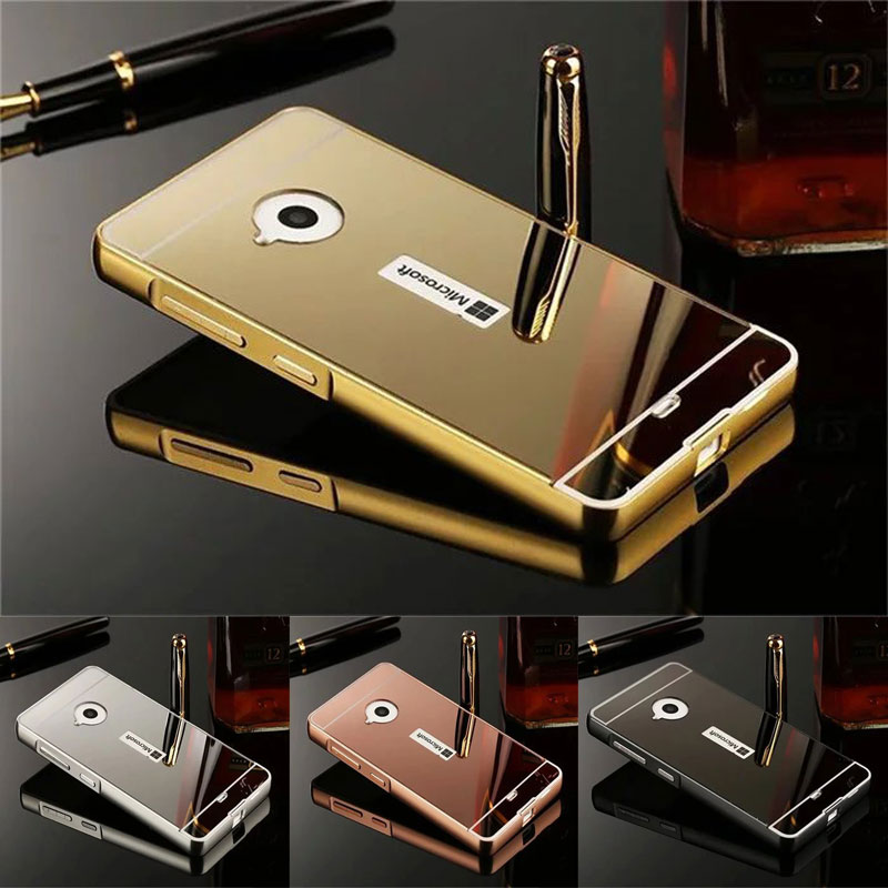 for Nokia Microsoft Lumia 535 Case Aluminum Metal Frame + Mirror Acrylic Back Cover Case For Nokia Lumia 535 Phone Cases Fundas