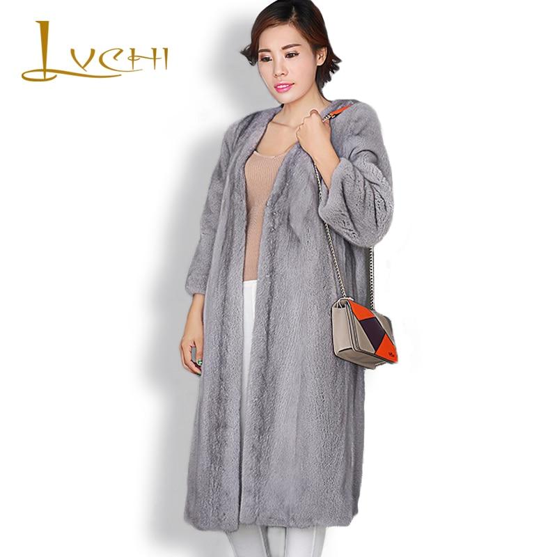 LVCHI Yeni stil bayanlar moda vizon palto Hakiki Deri Vizon Kürk - Bayan Giyimi - Fotoğraf 2