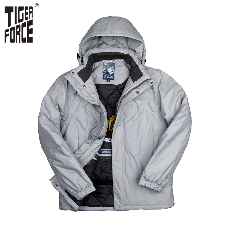 ФОТО TIGER FORCE 2016 Men Fashion Padded Coat Winter Cotton Jacket Hooded Parka Winter Coat Male Solid Zipper Free Shipping 7663