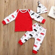 Christmas Baby Boy Clothes Set 100% Cotton Newborn Tee Shirts Pant Hat 3PCS Clothing Suit Infant Jumpsuits Pajamas Deer Bear 0-2