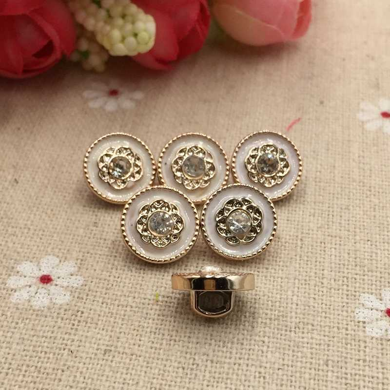 Il nuovo bianco rose tasto del rhinestone bottone della camicia 11 millimetri 10pcs Acrilico Casa Forniture Per Cucire FC807