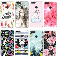 Luxury Marble Flower Case For Huawei P Smart Fashion Mickey Minnie Back Cover Protective Phone Coque smart