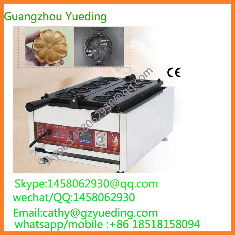 directly factory price The cherry blossom shape waffle maker /commercial special shape waffle machine directly factory price commercial electric double head egg waffle maker for round waffle and rectangle waffle
