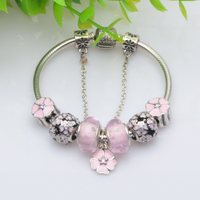 2016 Summer Collection 925 Sterling Silver Pink White Charm Bracelet With Cherry Beads Pendants Jewelry