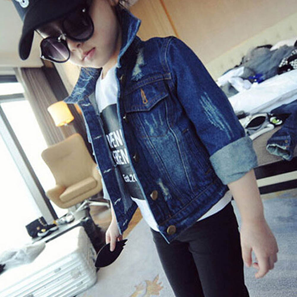Toddler Kids Baby Girls Clothes Hole Washed Denim Jeans Coat Jackets Outwear
