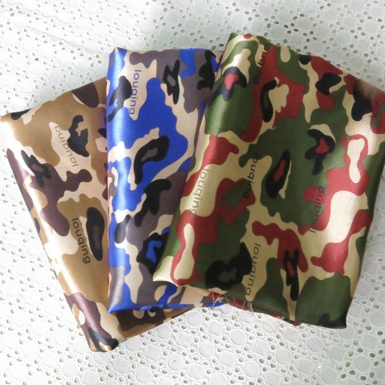 Camouflage gedruckt satin material kleid handwerk kleidung tasche auskleidungen Camo Print Stoff Tecido Armee Grün Braun
