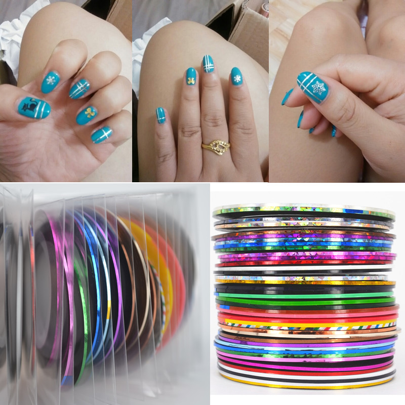 Retail 40 Popular 0.8mm Nail Striping Tape Line For Nails Decorations Diy Nail Art Self-Adhesive Decal Tools top nail 20 rolls of laser gold silver glitter striping tape line nail art tips decals beauty transfer foil stickers for nails