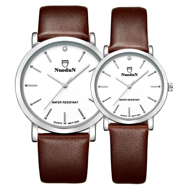 Nuodun Fashion Woman Leather Watch Top Brand Quartz Watch Water Resistant Ladies Leather Strap Watches Wristwatch
