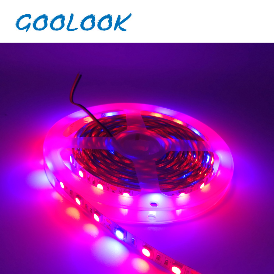 5M LED Plant Grow Light SMD 5050 hydroponic Systems Grow Led Bar Light Flowers and plant Waterproof DC 12V Led Grow Strip Light zdm 5m 72w led plant light strip 300pcs 5050 5 red 1 blue group dc 12v