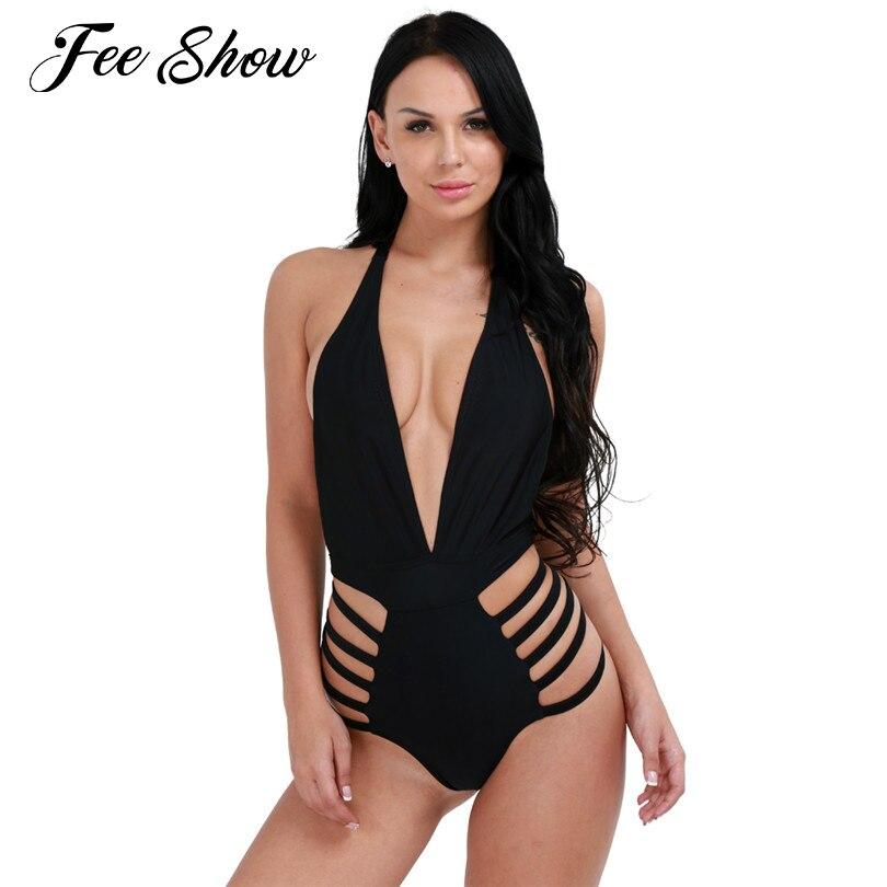 3205eafb44fef Womens One Piece Halter Monokini Bikini Swimwear Body Suit Sexy and  stretchy Women's Padded Bra Halter Neck Swimsuit Bodysuits