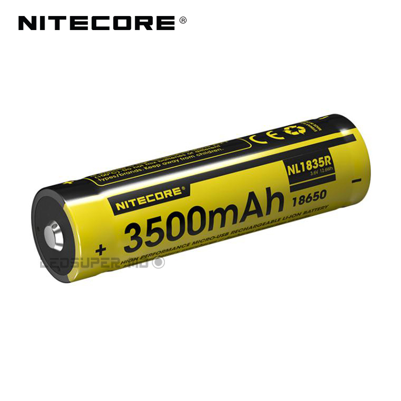 Original Nitecore NL1835R 3500mAh 18650 Micro-USB Rechargeable Li-ion Battery with Charging Port nitecore nl188 3100mah rechargeable li ion 18650 battery black yellow