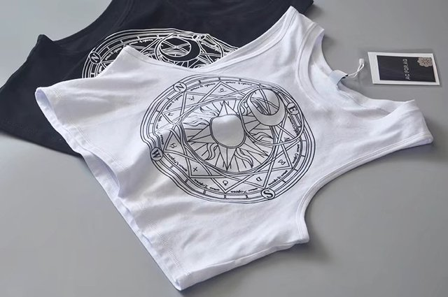 New Womens Tanks Loose Gothic Symbols Moon Sun Printing Crop Top Cropped Top Sleeveless Camis Tank Top 5