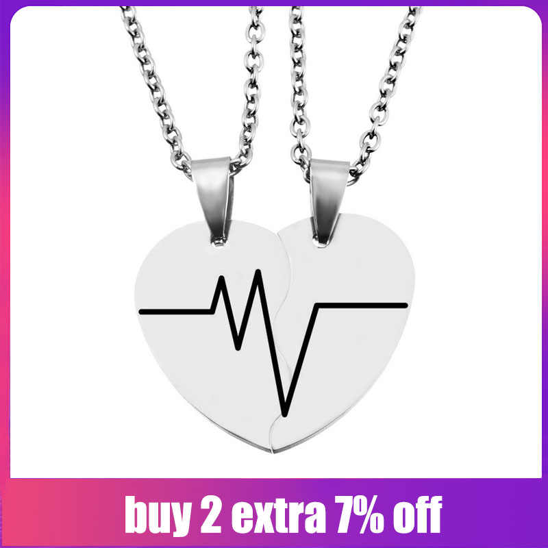 2PCs Stainless Steel Carved Half Heart Necklaces & Pendants Fashion Chain Necklace For Lovers Jewelry Fit Valentines Day Gift
