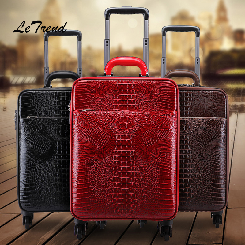 LeTrend High-grade Rolling Luggage Spinner Vintage Trolley Crocodile password Wheel Suitcases Business PU Leather Travel bag