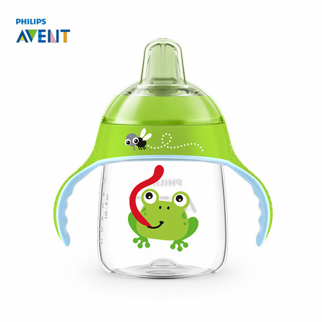 AVENT 260ml/9oz Cartoon Baby Soft Spout Cup Water Drinking BPA Free Bottle Child Feeding Cup for 12m+ Baby Travel School Using
