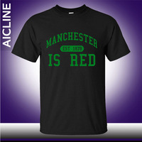 New United Kingdom Red Letter Print T Shirt Men Cotton O Neck Manchester Tee Shirts Camisa