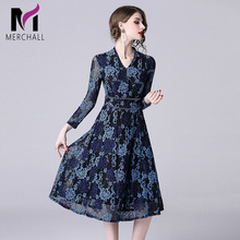 цена Merchall Fashion Designer Runway Dress Spring Women Dress Long sleeve Lace Floral Embroidery Hollow out Slim Elegant Dresses