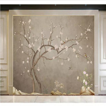 Custom wallpaper gray new Chinese hand-painted flowers and birds plum wall decoration painting waterproof material