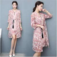 Two Piece Set 2017 Spring Woman Clothes Half Sleeve Chiffon Printing Coat And Skirt Fashion Casual