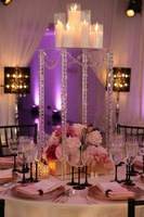 new style Wedding acrylic crystal square column wedding centerpiece /flower stand/candle holder