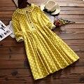 Estilo japonês mori menina 2016 nova outono dress mulheres long manga polka dot solto vintage dress plus size feminino casual roupas