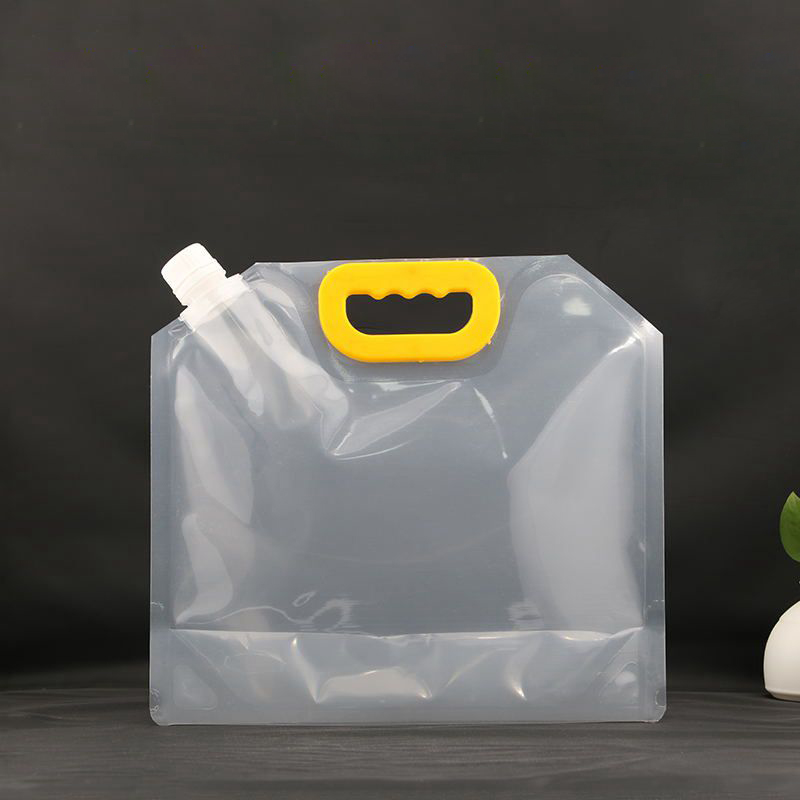 HARDIRON 10PCS Large Disposable Craft Beer Plastic Packaging Bag Juice Liquid Drink Yellow Handle Transparent Standing Bag in Storage Bags from Home Garden