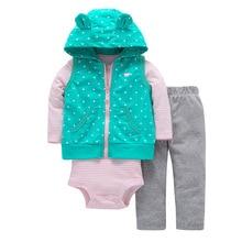 Купить с кэшбэком 2019 Spring Baby Girls Clothes Set 3PCS New Fashion Bodysuit+Pants+Vest Set Vestido Infant Baby Clothing Set Cartered Style