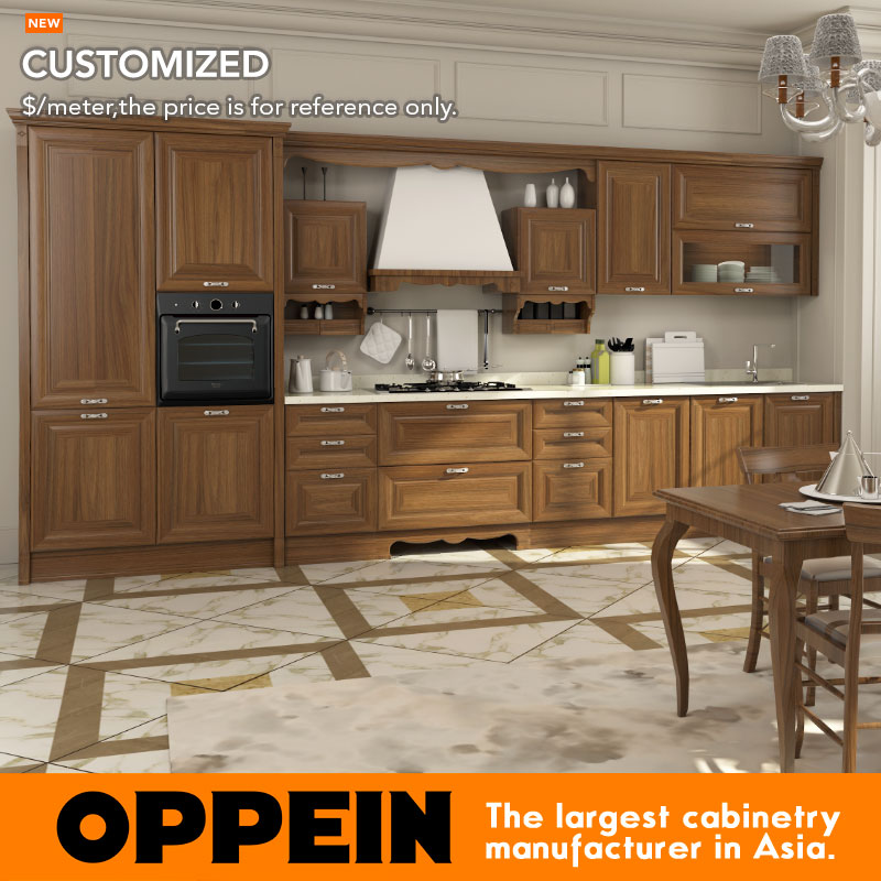 OPPEIN Antique Kitchen Furniture With Island/ Liner Styler/L Style PVC Kitchen Cabinets OP16-119