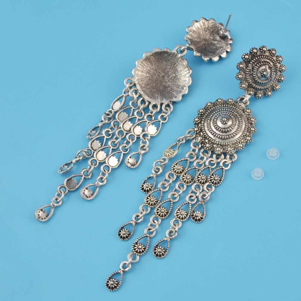ac93c68ae6 Gypsy Afghan Women Vintage Silver Boho Dangle Earrings Ethnic Bohemia Long  Drop Earring Tribal Geometric Tassel Jewelry Brincos
