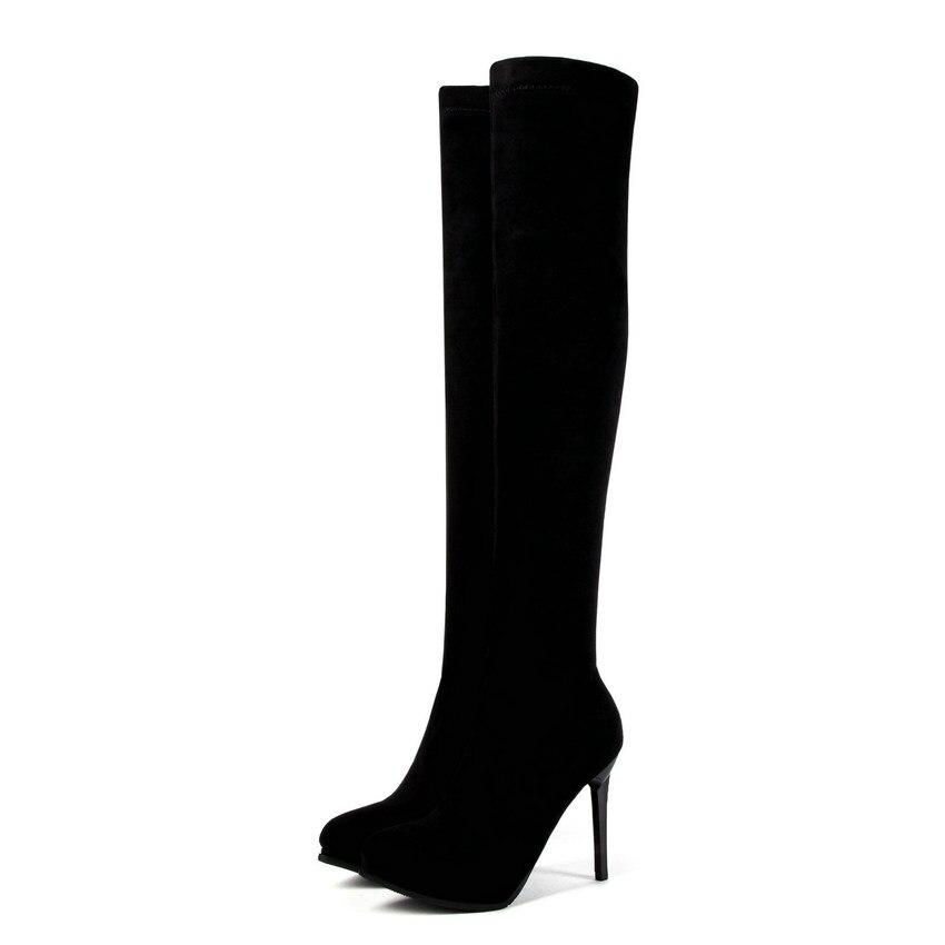 Bottes Mince 34 Haute Genou Talon 43 Taille forme 2019 D'hiver Glissière Chaussures Qutaa rouge Sur Grande Moto Femmes Noir Le Plate Haut xYnq7Fw