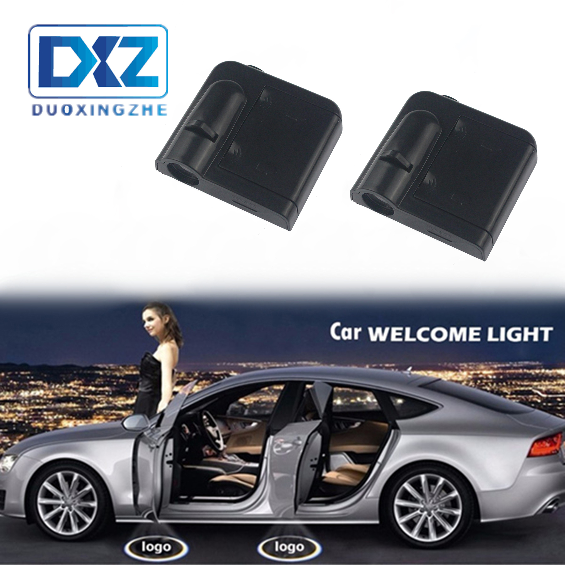 DXZ 2X Wireless Car LED Door Logo Light Laser Projector Ghost Shadow Welcome Light Universal For Opel Alfa remeo VW Mazda Volvo