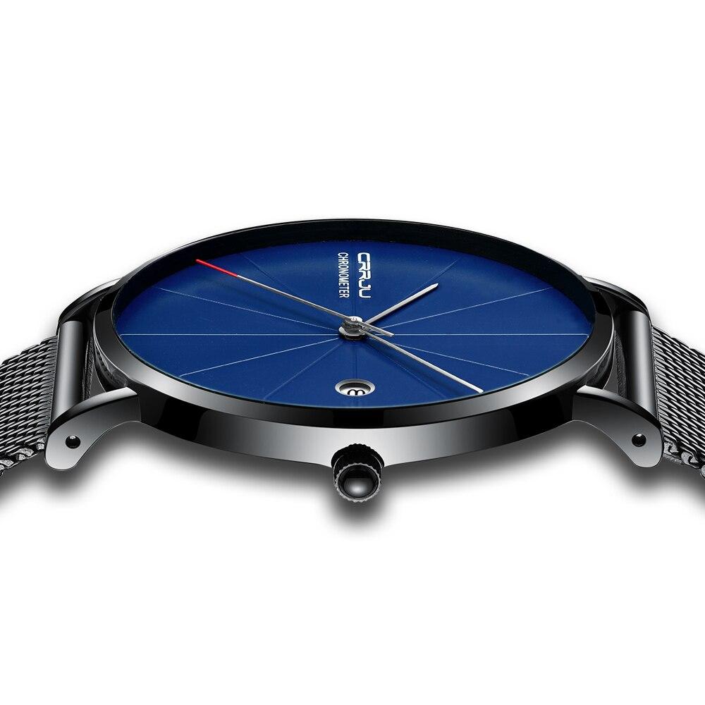 Reloj de pulsera resistente al agua de cuarzo informal de acero inoxidable de lujo para mujer reloj Masculino CRRJU ultradelgado para hombre