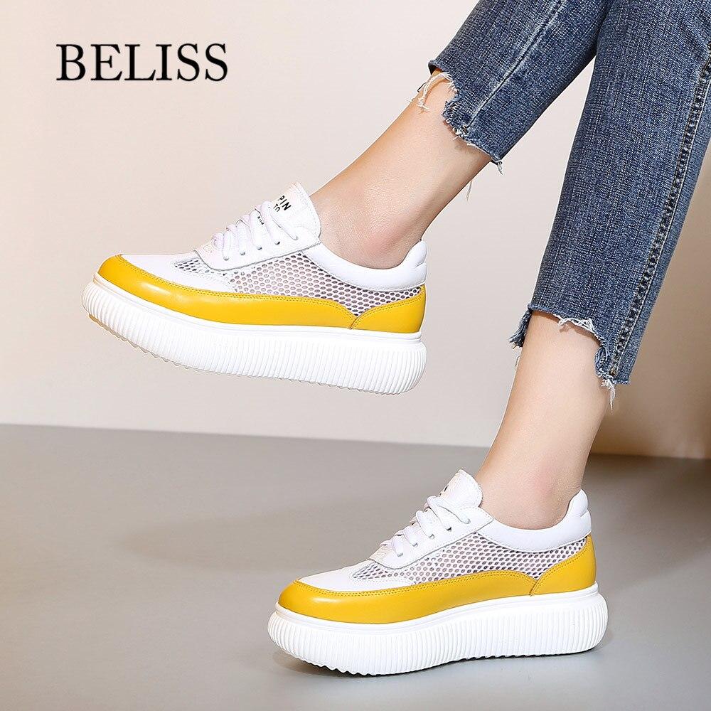BELISS summer flat platform women shoes lace up cow leather womans shoes fashions 2018 light breathable
