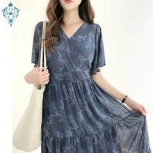 Ameision Women Floral Vintage Dresses Holiday Date Wear Slim Waist A Line V Neck short sleeve Blue Black Chiffon Dress