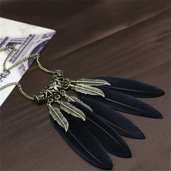 H:HYDE New Fashion beautiful Feather Necklaces Long Charms Necklaces For Women Jewellery Pendant Neckalce Red Black 2 Colors