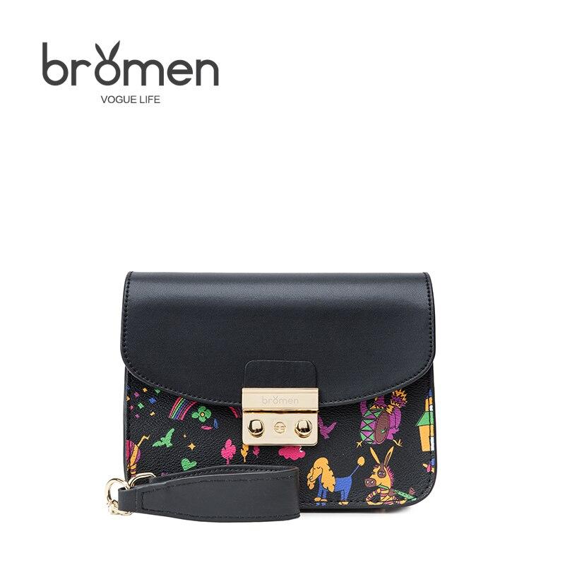 BROMEN Women PU Leather Shoulder Bag Satchel Handbag 2017 Original Retro Messenger Bag Famous Designer Clutch Shoulder Bag Bolsa