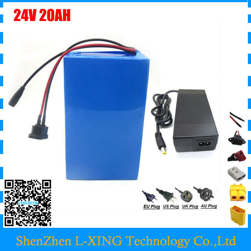 цены Free shipping 700W 24V lithium battery 24V 20AH electric bike battery 24 v battery with 30A BMS 29.4V 3A Charger