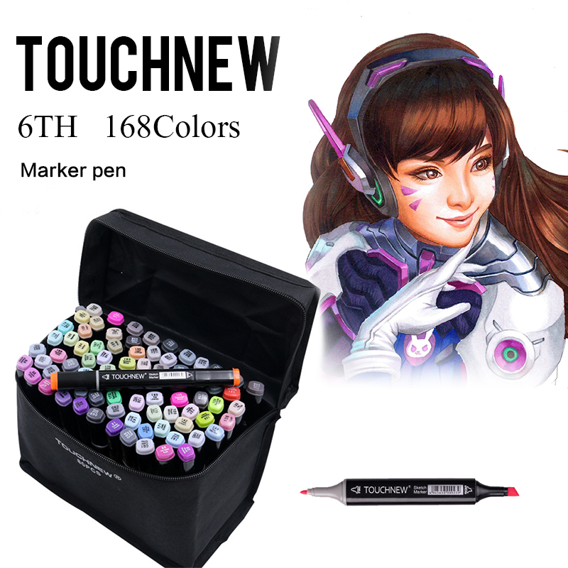 TOUCHNEW 30/40/60/72/80/168 Color Painting Art Sketch Markers Manga Design Paint Marker Material For Drawing Art Supplies touchnew 36 48 60 72 168colors dual head art markers alcohol based sketch marker pen for drawing manga design supplies