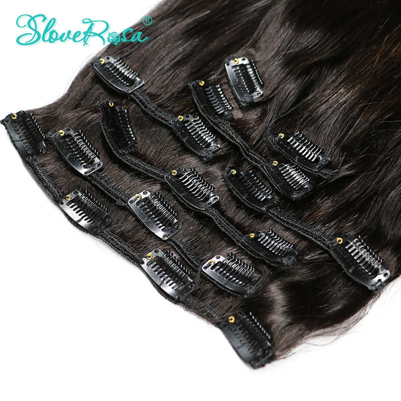 Brazilian Remy Straight Hair African American Clip In Human Hair Extensions No Tangle & Split 120g/Set 8 Pieces Slove Rosa Hair