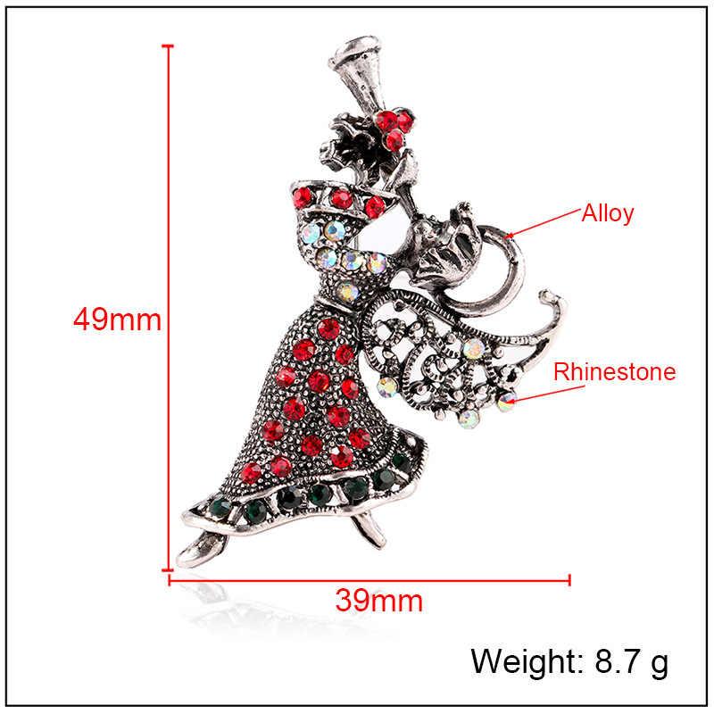 CINDY XIANG Vintage strass ange fille broches pour les femmes élégantes broches meilleur cadeau de noël bijoux manteau robe accessoires
