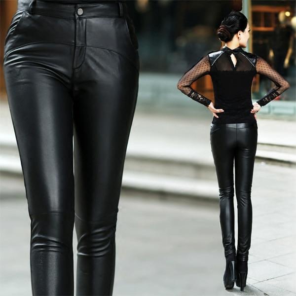 2020 корейские новые Утепленные зимние женские брюки из натуральной кожи, узкие брюки из овечьей кожи, тонкие женские модные сексуальные обтя... - 4