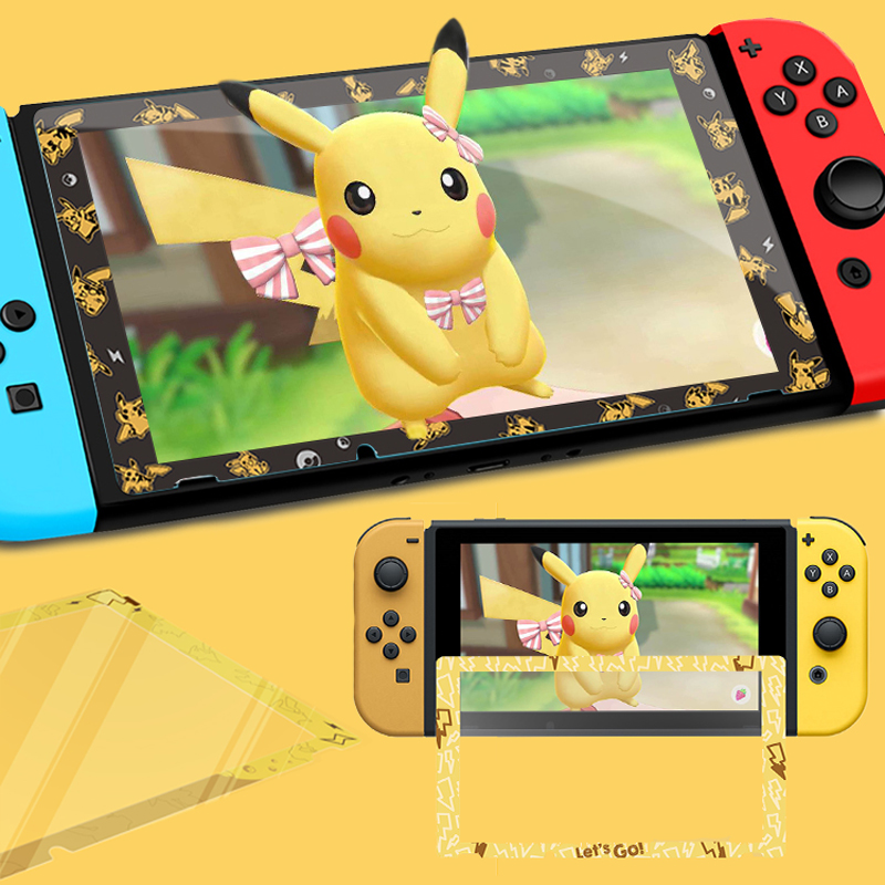 For Nintendo Switch NS Console Screen Protector Tempered Glass Game Let's Go Pikachus Eevee Colorful Ultra Protetor Film Cover
