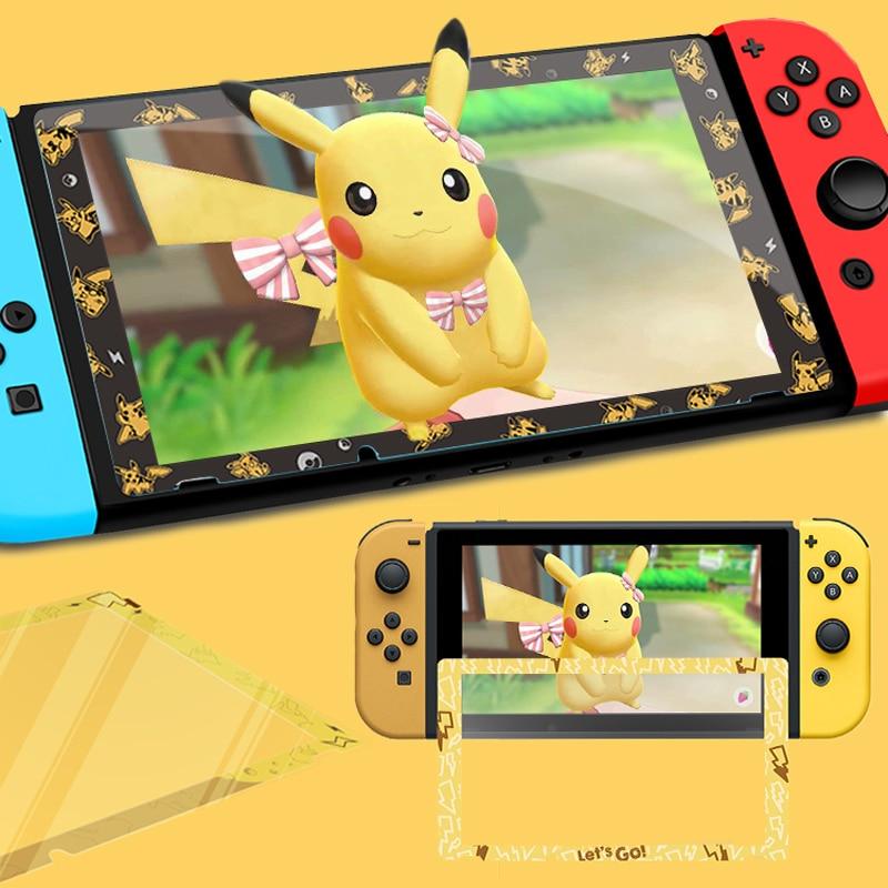 Para nintendo switch ns console protetor de tela de vidro temperado jogo vamos pikachus eevee colorido ultra protetor filme capa