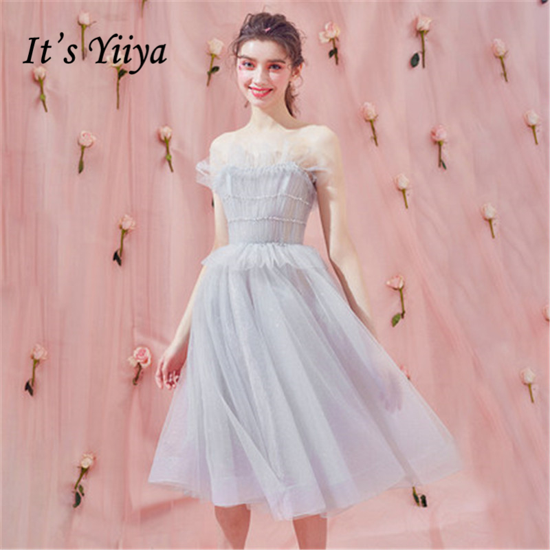 It's YiiYa Cocktail Dress Summer Women 2018 Party Strapless Knee Length Fashion Designer Elegant Short Cocktail Gowns LX1010